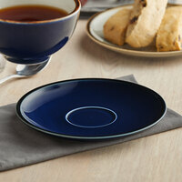 Acopa Keystone 6 1/2 inch Azora Blue Porcelain Saucer - 36/Case