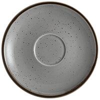 Acopa Keystone 6 1/2 inch Granite Gray Porcelain Saucer - 36/Case