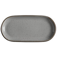 Acopa Keystone 14 inch x 6 3/4 inch Granite Gray Porcelain Oblong Coupe Platter - 6/Case