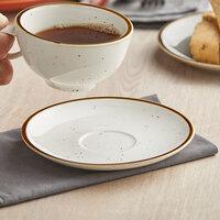 Acopa Keystone 6 1/2 inch Vanilla Bean Porcelain Saucer - 36/Case