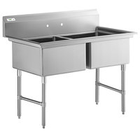 Regency 53 inch 16-Gauge Stainless Steel Two Compartment Commercial Sink with Stainless Steel Legs, Cross Bracing, and without Drainboards - 23 inch x 23 inch x 12 inch Bowls