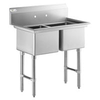 Regency 41 inch 16-Gauge Stainless Steel Two Compartment Commercial Sink with Stainless Steel Legs, Cross Bracing, and without Drainboard - 17 inch x 17 inch x 12 inch Bowls