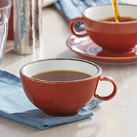Acopa Keystone 8 oz. Sedona Orange Porcelain Cup   - 36/Case