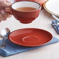 Acopa Keystone 6 1/2 inch Sedona Orange Porcelain Saucer - 36/Case