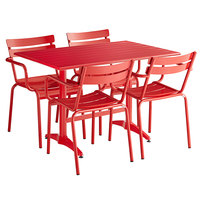 Lancaster Table & Seating 32 inch x 48 inch Red Powder-Coated Aluminum Dining Height Outdoor Table with 4 Arm Chairs