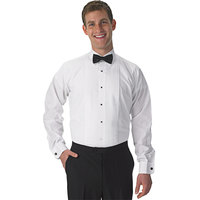 Henry Segal Men's Customizable White Tuxedo Shirt with Lay-Down Collar - M