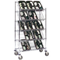 Metro DC15EC 24 inch x 18 inch Four Slanted Shelf with One Flat Top Shelf Merchandiser / Dispenser Rack