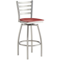 Lancaster Table & Seating Clear Frame Ladder Back Swivel Bar Height Chair with Mahogany Wood Seat