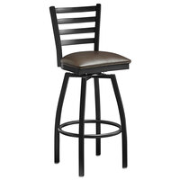 Lancaster Table & Seating Black Top Frame Ladder Back Swivel Bar Height Chair with Dark Brown Padded Seat
