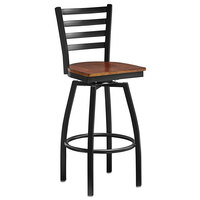 Lancaster Table & Seating Black Top Frame Ladder Back Swivel Bar Height Chair with Antique Walnut Wood Seat
