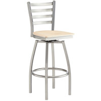 Lancaster Table & Seating Clear Frame Ladder Back Swivel Bar Height Chair with Natural Wood Seat