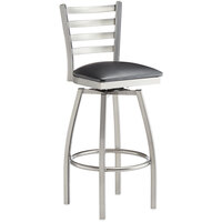 Lancaster Table & Seating Clear Frame Ladder Back Swivel Bar Height Chair with Black Padded Seat