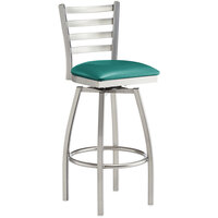 Lancaster Table & Seating Clear Frame Ladder Back Swivel Bar Height Chair with Green Padded Seat