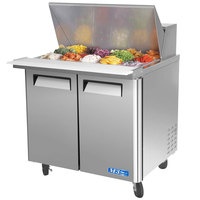 Turbo Air MST-36-15 36 inch M3 Series Mega Top Refrigerated Salad / Sandwich Prep Table with Two Doors