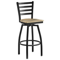 Lancaster Table & Seating Black Top Frame Ladder Back Swivel Bar Height Chair with Driftwood Seat