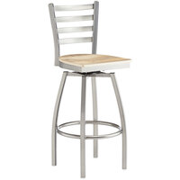 Lancaster Table & Seating Clear Frame Ladder Back Swivel Bar Height Chair with Driftwood Seat