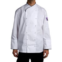 Chef Revival J008-2X Men's Chef-Tex Size 52 (2X) Customizable Poly-Cotton Corporate Chef Jacket with Black Piping