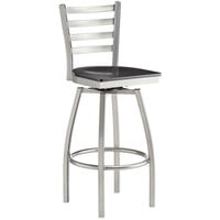 Lancaster Table & Seating Clear Frame Ladder Back Swivel Bar Height Chair with Black Wood Seat