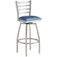 Lancaster Table & Seating Clear Frame Ladder Back Swivel Bar Height Chair with Navy Blue Padded Seat