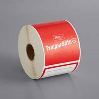 TamperSafe 2 1/2 inch x 6 inch Customizable Red Paper Tamper-Evident Label - 250/Roll