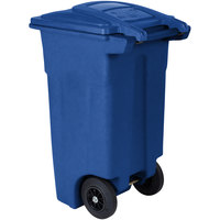 Toter ANA32-00BLU 32 Gallon Blue Rotational Molded Rollout Trash Can with Lid