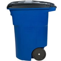 Toter ANA96-00BLU 96 Gallon Blue Rotational Molded Rollout Trash Can with Lid