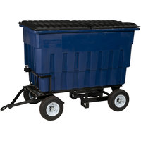 Toter FLA20-10227 2 Cubic Yard Blue Rapid Speed Mobile Trash Container / Dumpster with Attached Lid (1000 lb. Capacity)