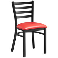 Lancaster Table & Seating Black Finish Wooden Ladder Back Cafe Chair with Red Padded Seat