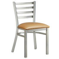 Lancaster Table & Seating Clear Frame Ladder Back Cafe Chair with Light Brown Padded Seat