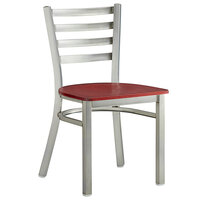 Lancaster Table & Seating Clear Coat Frame Ladder Back Cafe Chair with Mahogany Wood Seat