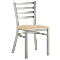Lancaster Table & Seating Clear Coat Frame Ladder Back Cafe Chair with Natural Wood Seat