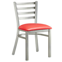 Lancaster Table & Seating Clear Frame Ladder Back Cafe Chair with Red Padded Seat