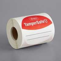 TamperSafe 3 inch Round Red Paper Tamper-Evident Label - 250/Roll