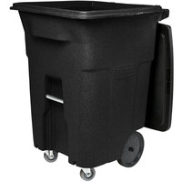 Toter ACC96-10202 96 Gallon Black Rotational Molded Rollout Trash Can with Casters and Lid