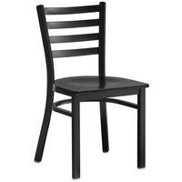 Lancaster Table & Seating Black Finish Wooden Ladder Back Cafe Chair with Black Wood Seat