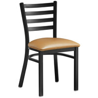 Lancaster Table & Seating Black Finish Wooden Ladder Back Cafe Chair with Light Brown Padded Seat