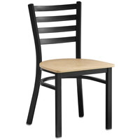 Lancaster Table & Seating Black Finish Wooden Ladder Back Cafe Chair with Natural Wood Seat