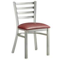Lancaster Table & Seating Clear Frame Ladder Back Cafe Chair with Burgundy Padded Seat