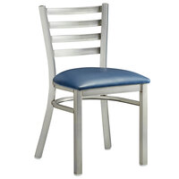 Lancaster Table & Seating Clear Frame Ladder Back Cafe Chair with Navy Blue Padded Seat