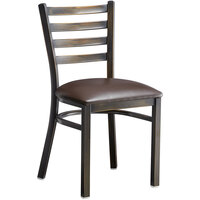 Lancaster Table & Seating Distressed Copper Frame Ladder Back Cafe Chair with Dark Brown Padded Seat