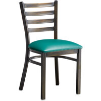 Lancaster Table & Seating Distressed Copper Frame Ladder Back Cafe Chair with Green Padded Seat