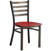 Lancaster Table & Seating Distressed Copper Frame Ladder Back Cafe Chair with Mahogany Wood Seat
