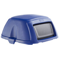 Toter STL35-00BLU Blue Square Dome Lid with Swing Door for 35 Gallon Slimline Trash Cans