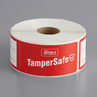 TamperSafe 1 1/2 inch x 6 inch Customizable Red Paper Tamper-Evident Label - 250/Roll