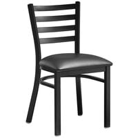 Lancaster Table & Seating Black Finish Wooden Ladder Back Cafe Chair with Black Padded Seat