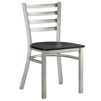 Lancaster Table & Seating Clear Coat Frame Ladder Back Cafe Chair with Black Wood Seat