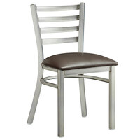 Lancaster Table & Seating Clear Frame Ladder Back Cafe Chair with Dark Brown Padded Seat