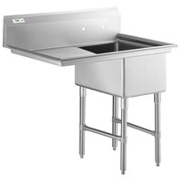 Regency 44 inch 16-Gauge Stainless Steel One Compartment Commercial Sink with Stainless Steel Legs, Cross Bracing, and 1 Drainboard - 17 inch x 23 inch x 12 inch Bowl