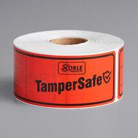 TamperSafe 1 1/2 inch x 6 inch Red Plastic Tamper-Evident Label - 250/Roll