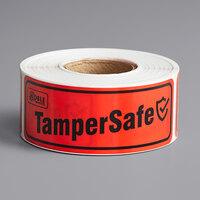 TamperSafe 1 inch x 3 inch Red Plastic Tamper-Evident Label - 250/Roll